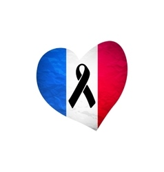 Black mourning ribbon on a flag of France vector