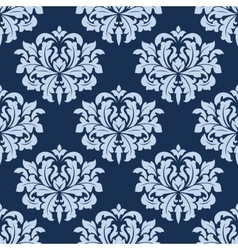 Blue seamless damask pattern vector