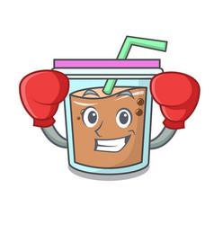 Boxing bubble tea character cartoon vector