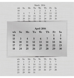 calendar month for 2016 pages April vector image