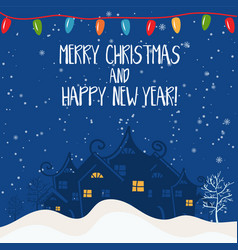 Cartoon for holiday theme with house on winter vector