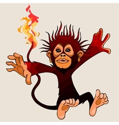 cartoon monkey fire in flight vector image
