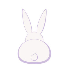 Cartoon pastel bunny back silhouette vector