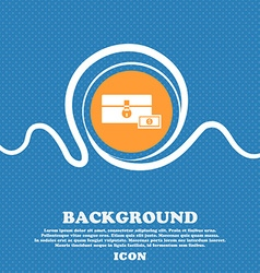 Chest icon sign blue and white abstract background vector