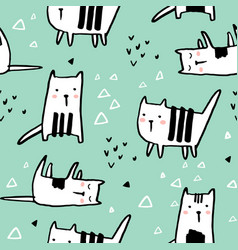 Childish seamless pattern with hand drawn cats vector