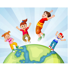Children and the world vector