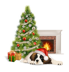 Christmas tree dog fireplace vector