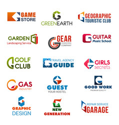 Club agency and industry identity g icons vector