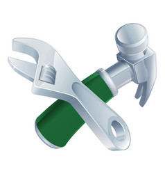 crossed spanner and hammer tools vector image