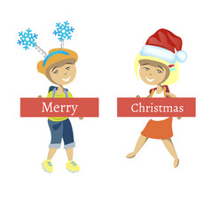 cute girl and boy celebrate christmas vector image