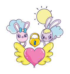 cute rabbits couple valentines day vector image
