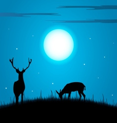 Deer and doe during the full moon background vector