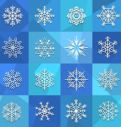 Different snowflakes set vector
