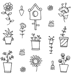 Doodle of spring flower set vector