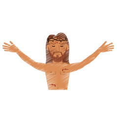 Drawing jesus christ resurrection design vector