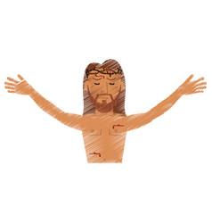 Drawing jesus christ resurrection design vector