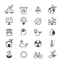 Eco Energy and Environment Icons Line vector image