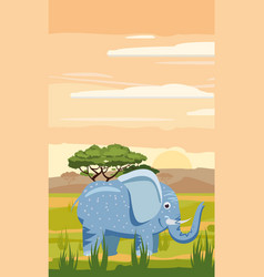 elephant cute cartoon style in background savannah vector image