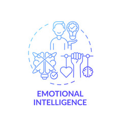 Emotional intelligence blue gradient concept icon vector