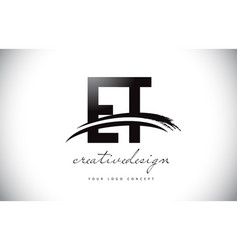 Et e t letter logo design with swoosh and black vector