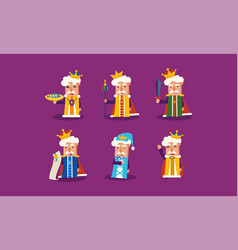 Flat set of funny cartoon king in different vector