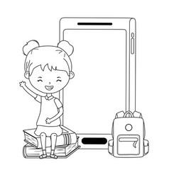 Girl kid school and smartphone design vector