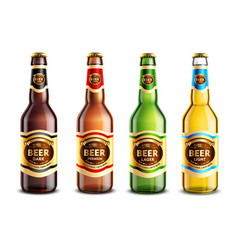 Glass beer bottles realistic set vector