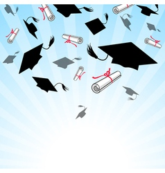 Graduation caps in the sky vector