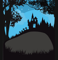 Halloween night frame with scary haunted castle vector