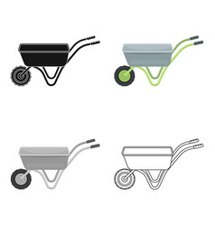 Hand truck with one wheel wheelbarrow for the vector