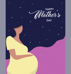Happy mothers day card pregnant woman vector