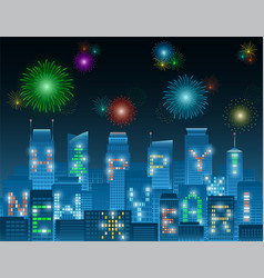 happy new year alphabet buildings at night vector image