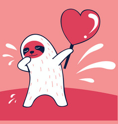 happy valentines day funny dabbing sloth vector image
