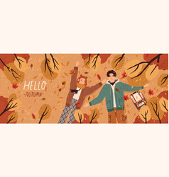 hello autumn flat banner template postcard vector image