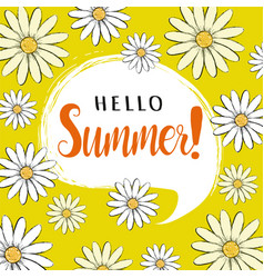 hello summer greeting card with daisies vector image