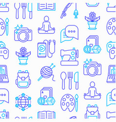 Hobby seamless pattern with thin line icons vector