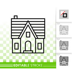 House simple black line home exterior icon vector