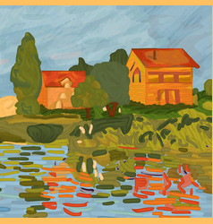 houses in claude monet style vector image