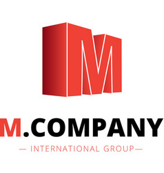 isometric gradient M letter logo Company vector image