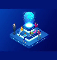 isometric social network technology networking vector image