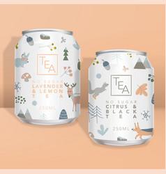 Juice soda tea or coffee can packaging w vector