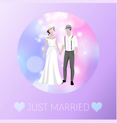 just married newly weds bride and bridegroom vector image