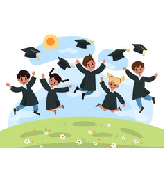 Kids graduation day kindergarten cute multiethnic vector