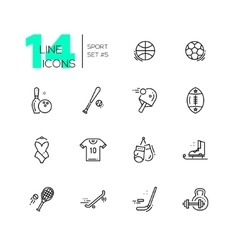 Kinds of Sport - line icons set vector