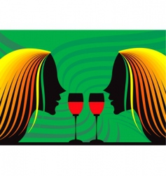 ladies and wine vector image