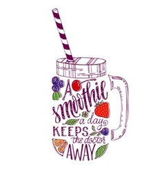 Lettering in smoothie mason jar silhouette vector image
