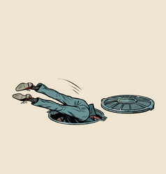 man fell into a sewer manhole vector image