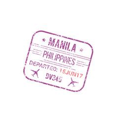 Manila airport visa stamp border control seal vector
