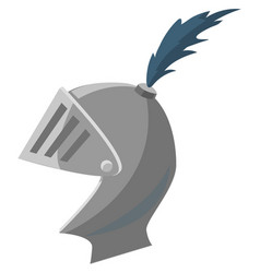 Mask knight crusader helmet with feathers vector