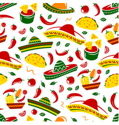 mexican taco nacho and sombrero seamless pattern vector image
